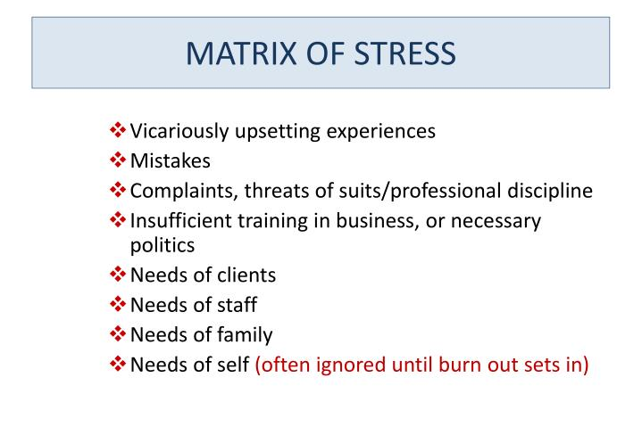 MATRIX OF STRESS