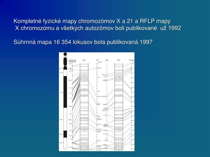 Kompletné fyzické mapy chromozómov X a 21 a RFLP mapy