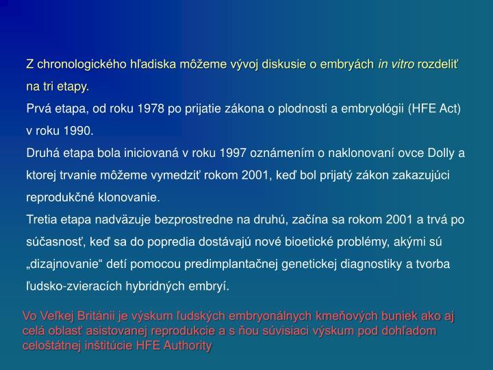 Zchronologického hľadiska môžeme vývoj diskusie oembryách