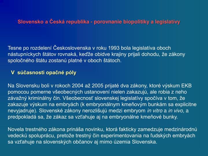 Slovensko a Česká republika - porovnanie
