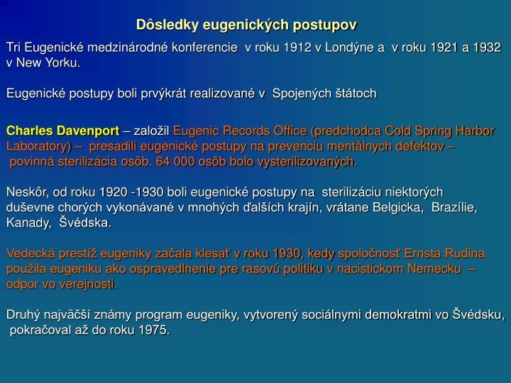Dôsledky eugenických postupov