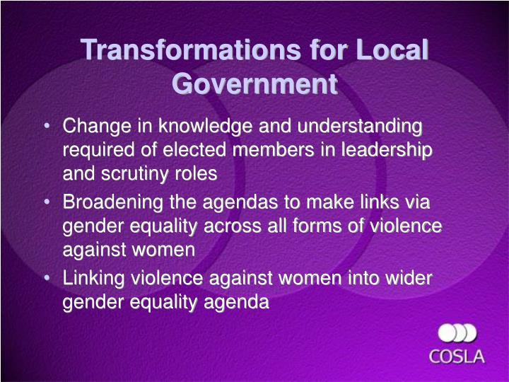 Transformations for Local Government