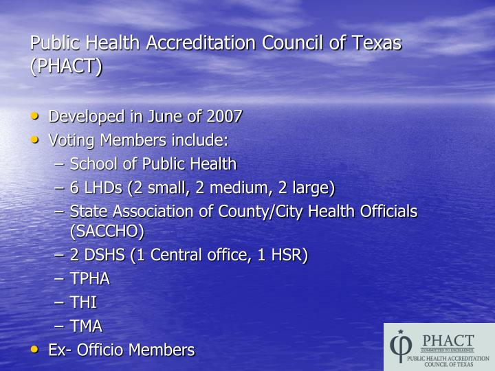 Public Health Accreditation Council of Texas (PHACT)