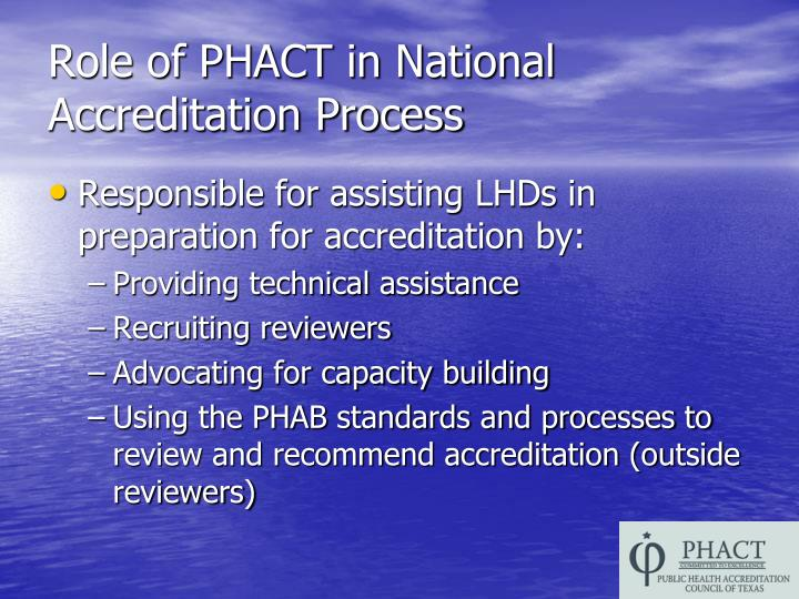 Role of PHACT in National Accreditation Process