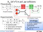 a ll of p 0 in pol pp collisions