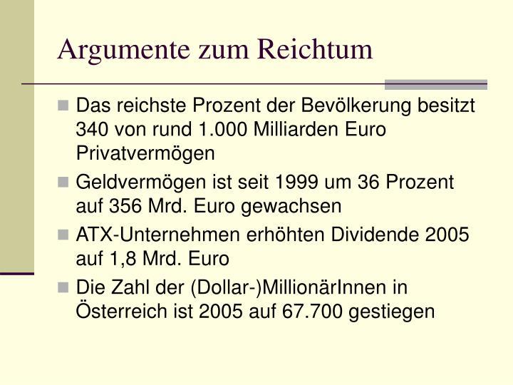 Argumente zum Reichtum