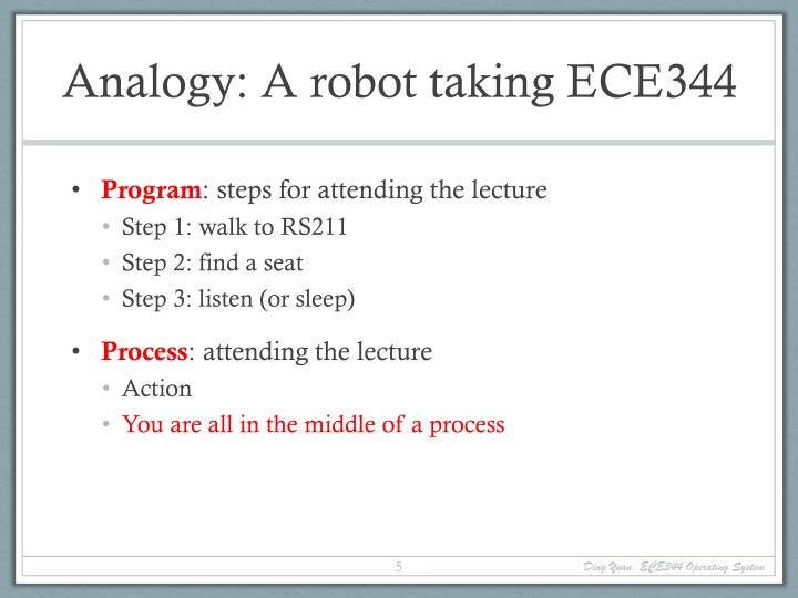 Analogy: A robot taking ECE344