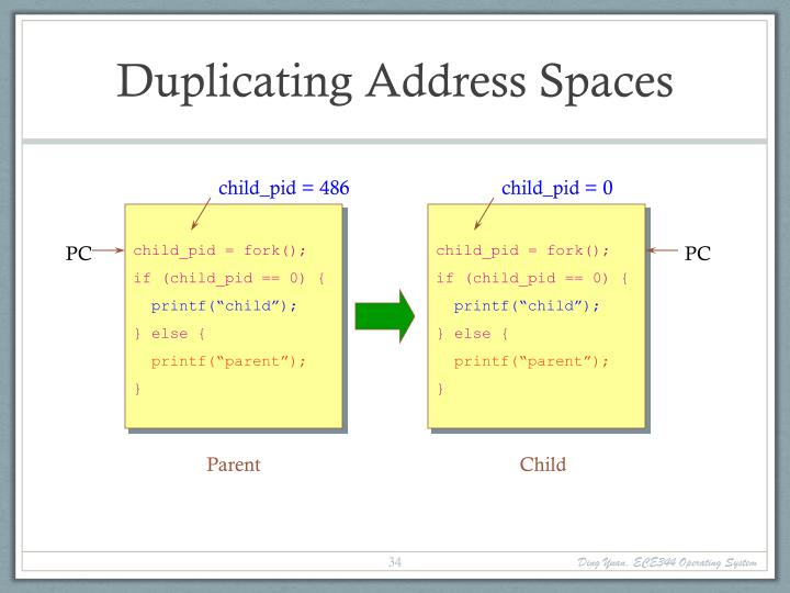 Duplicating Address Spaces