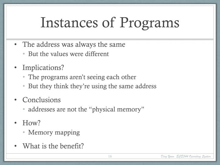 Instances of Programs