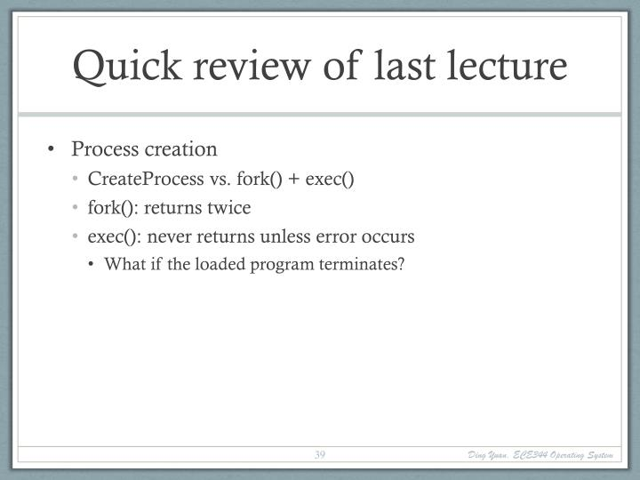 Quick review of last lecture