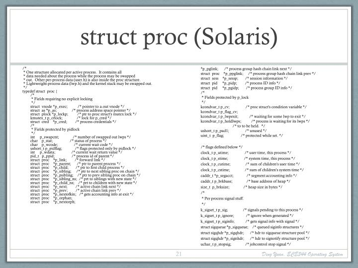 struct proc (Solaris)