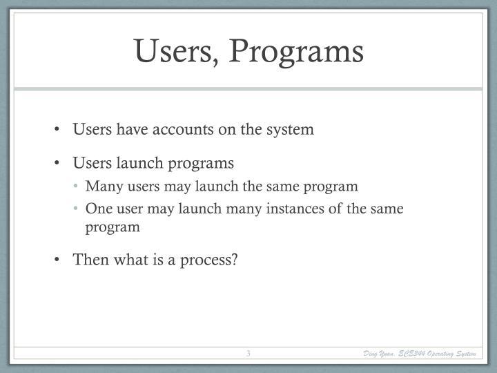 Users, Programs