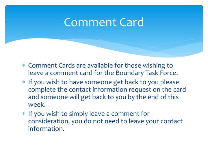 Comment Card
