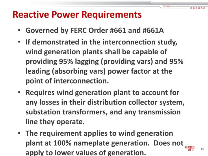 Reactive Power Requirements