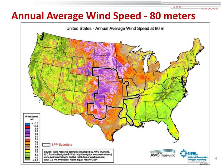 Annual Average Wind Speed - 80 meters