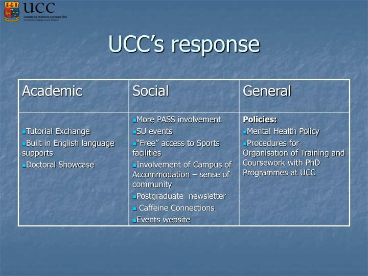 UCC's response