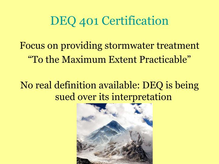 DEQ 401 Certification