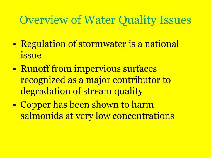 Overview of water quality issues