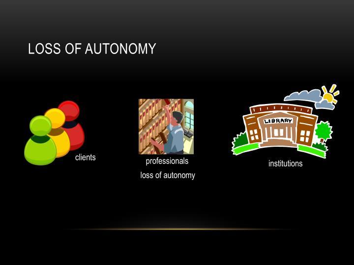 Loss of autonomy