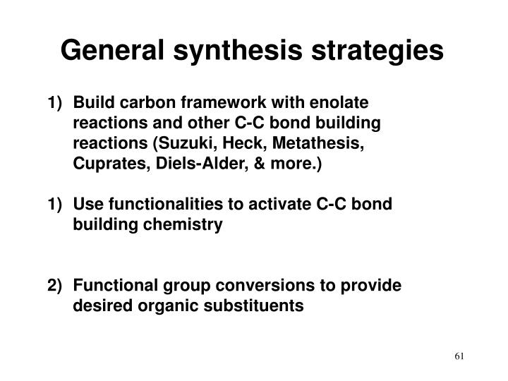 General synthesis strategies