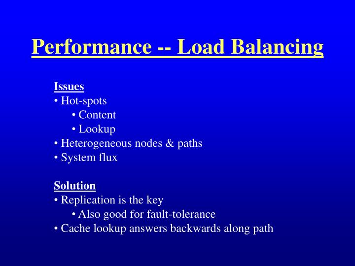 Performance -- Load Balancing