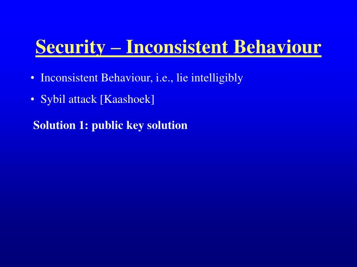 Security – Inconsistent Behaviour