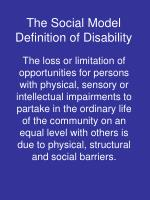 the social model definition of disability