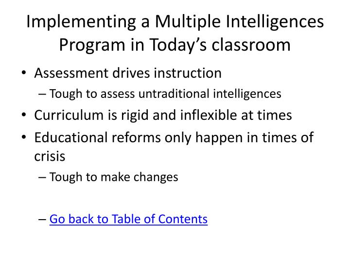 Implementing a Multiple Intelligences Program in Today's classroom