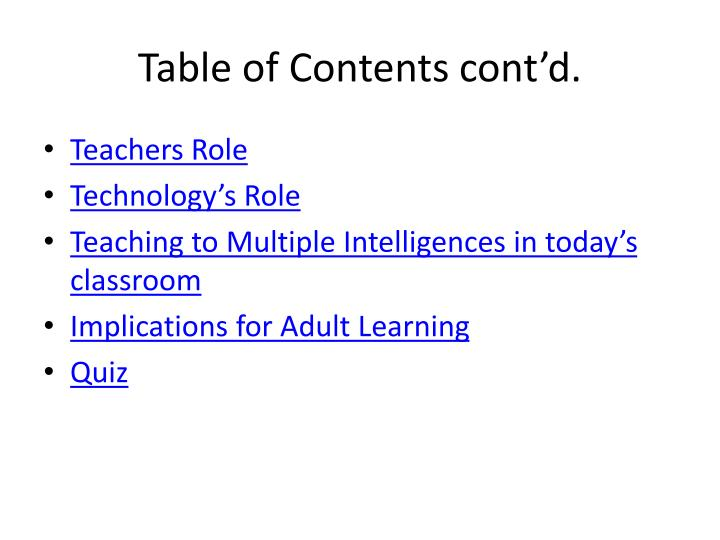 Table of Contents cont'd.