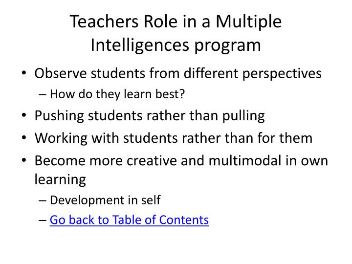 Teachers Role in a Multiple Intelligences program