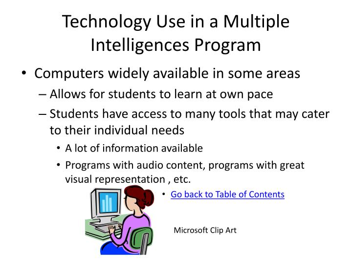 Technology Use in a Multiple Intelligences Program