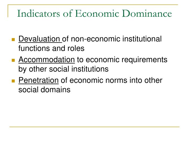 Indicators of Economic Dominance