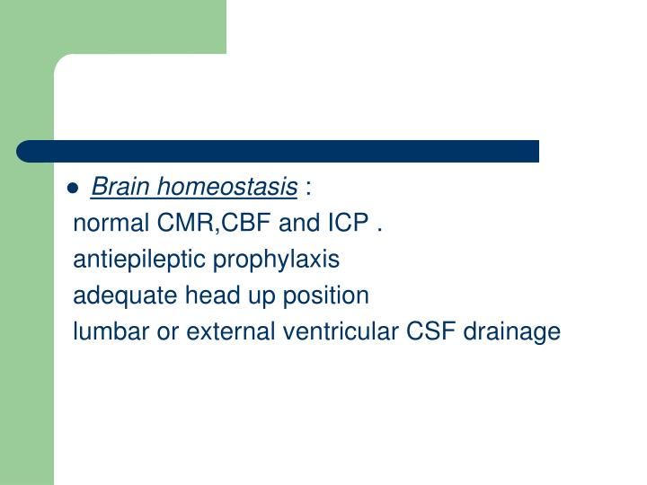 Brain homeostasis