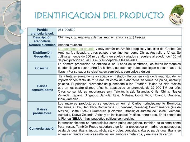 IDENTIFICACION DEL PRODUCTO