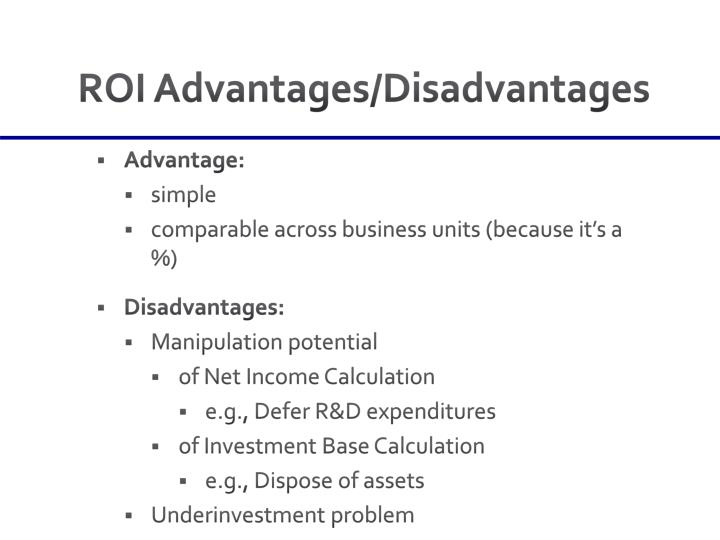 ROI Advantages/Disadvantages