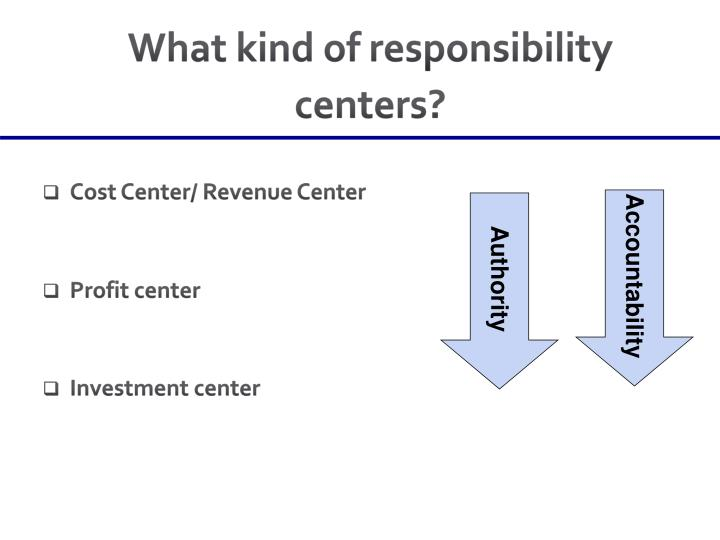 What kind of responsibility centers?