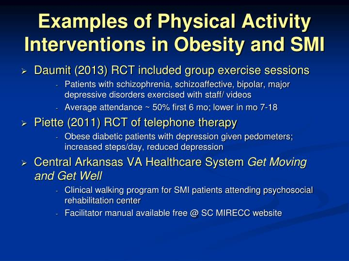 Examples of Physical Activity Interventions in Obesity and SMI