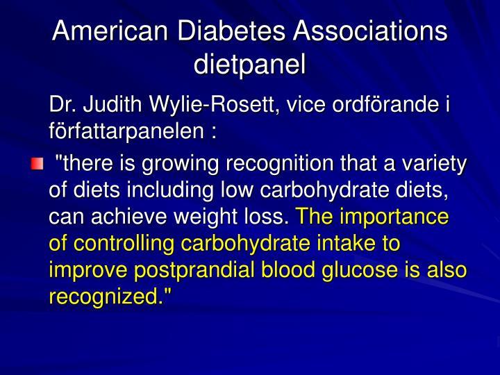 American Diabetes Associations dietpanel