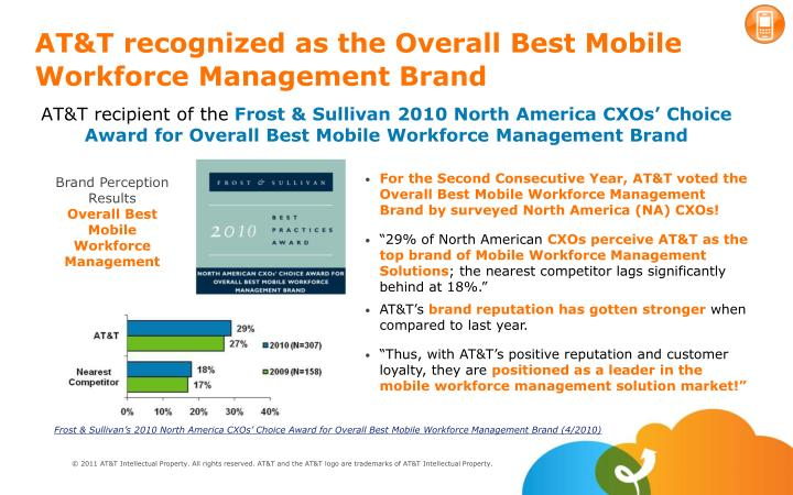 AT&T recognized as the Overall Best Mobile  Workforce Management Brand