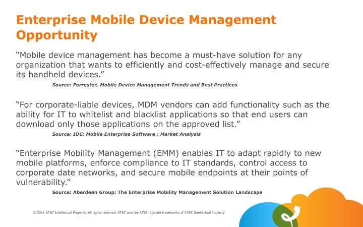 Enterprise Mobile Device Management