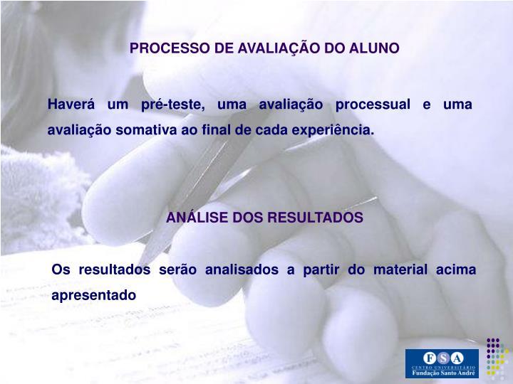 PROCESSO DE AVALIAÇÃO DO ALUNO