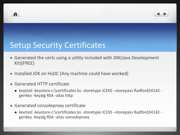Setup Security Certificates