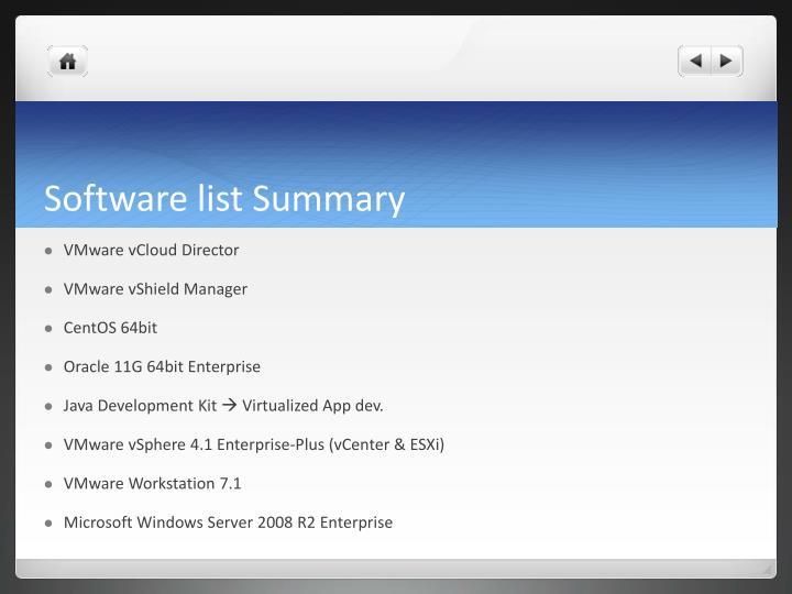 Software list Summary