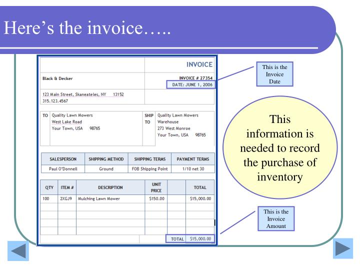 Here's the invoice…..