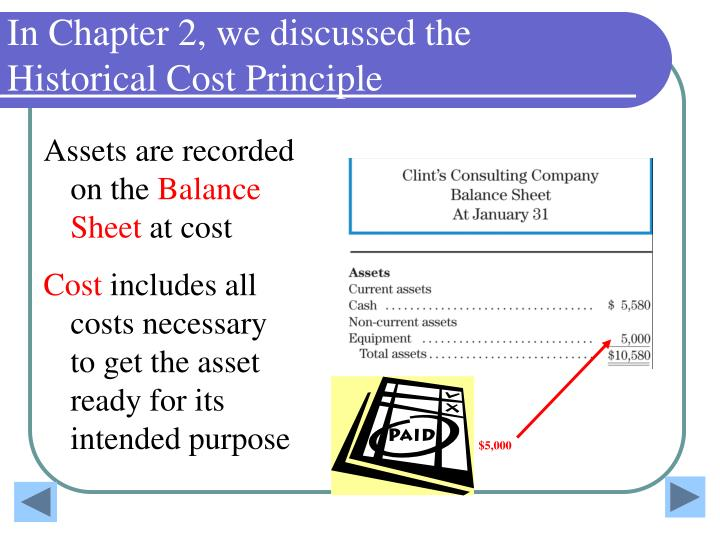 In Chapter 2, we discussed the Historical Cost Principle