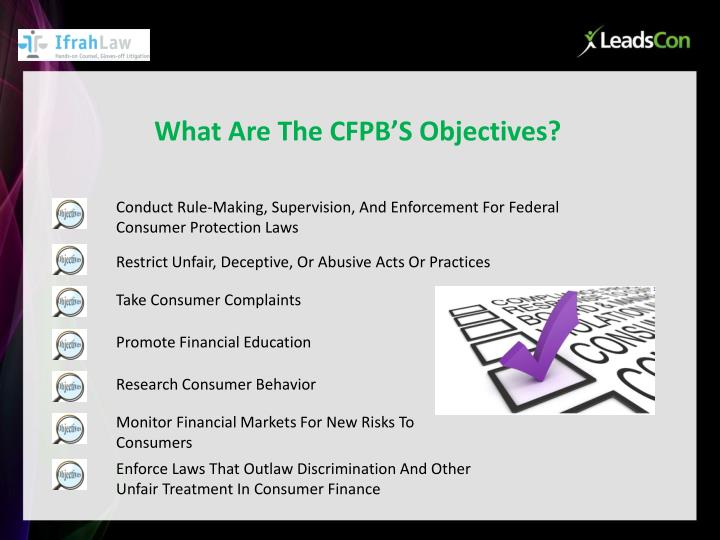 What Are The CFPB'S Objectives?