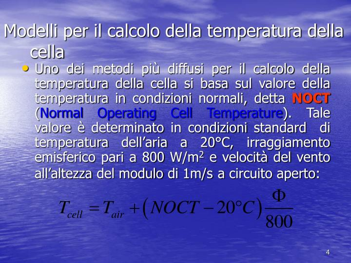 Modelli per il calcolo della temperatura della cella