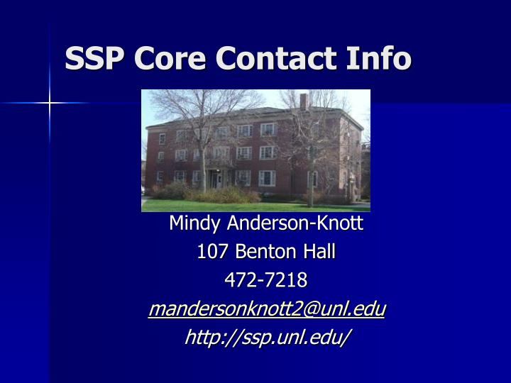 SSP Core Contact Info