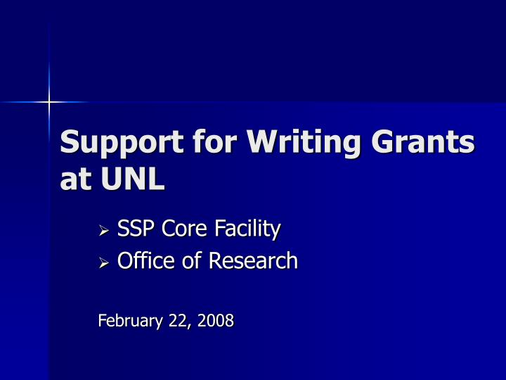 Support for writing grants at unl