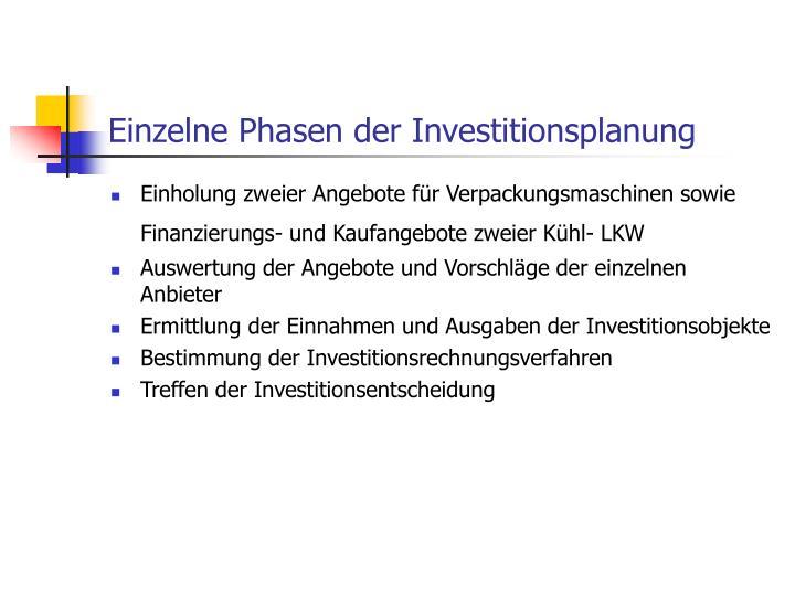Einzelne Phasen der Investitionsplanung